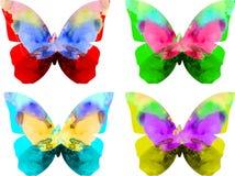 De vlinder van de waterverf die op witte achtergrond wordt geïsoleerdi vector illustratie