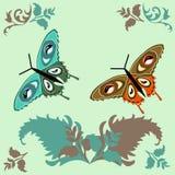 De vlinder van de groetkaart op een lichtgroene achtergrondaardgreens stock illustratie