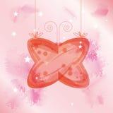 De vlinder van het glas over roze achtergrond royalty-vrije illustratie