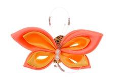 De vlinder van het stuk speelgoed die van linten wordt gemaakt Stock Afbeelding