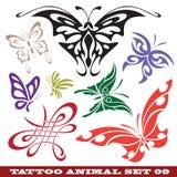 De vlinder van malplaatjes voor tatoegering Stock Afbeelding