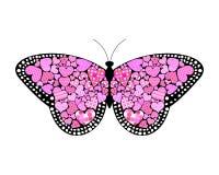 De vlinder van valentijnskaarten Stock Afbeeldingen