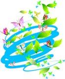 De Vlinders, de Bladeren en de Rollen van pastelkleuren. Royalty-vrije Stock Fotografie