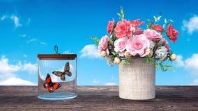 De vlinders naast mooie 3d bloemen worden gesloten geven 3d illustratie die terug Royalty-vrije Stock Foto's