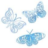 De vlinders schetsen blauw vector illustratie