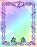 De vlinders van de de uitnodigingsgrens van het huwelijk Stock Foto