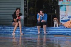 De vloed van Bangkok. Stock Afbeeldingen