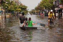 De vloed 2011 van Bangkok Stock Fotografie