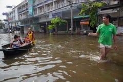 De vloed 2011 van Bangkok Stock Foto's