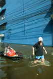 De vloed 2011 van Bangkok Stock Afbeeldingen