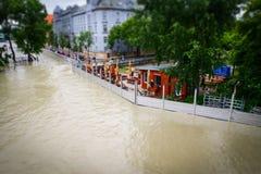 De vloed van Donau in Bratislava, Europa Stock Afbeelding