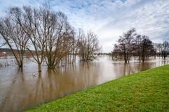 De vloed van het hoogwater bij elbe dijk Stock Afbeelding