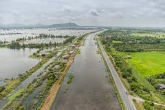De vloed van Thailand, Natuurramp Royalty-vrije Stock Foto's