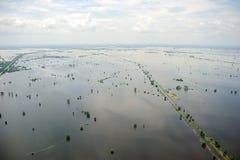 De vloed van Thailand, Natuurramp Stock Fotografie