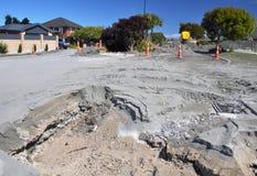De Vloeibaarmaking van de Weg van het prieel, Aardbeving Christchurch Stock Foto