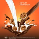 De vloeibare chocolade en de melk stromen en spash gemengd, sandwichkoekjes, 3d vectorillustratie stock illustratie