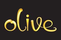 De vloeibare 3d tekst van Olive Oil Glanzende en glanzende vectorillustratie Stock Foto