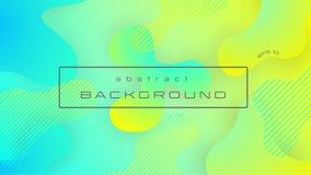 De vloeibare gele blauwe abstracte achtergrond van de gradiëntkleur, vloeibare vormensamenstelling Eps 10 stock illustratie