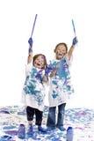 De vloer van de Meisjes van kinderjaren het schilderen Stock Foto
