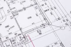 De vloerplan van de bouw. Royalty-vrije Stock Foto