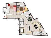 De vloerplan van het huis Stock Afbeeldingen