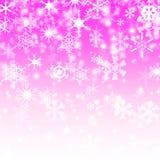 De Vlok van de sneeuw op de Roze Achtergrond Stock Fotografie