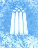 De vlokken van de sneeuw en kerkvenster Royalty-vrije Stock Fotografie