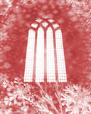 De vlokken van de sneeuw en kerkvenster Stock Afbeeldingen