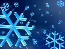 De vlokken van de sneeuw met lichte stralen Royalty-vrije Stock Foto