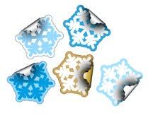 De vlokken van de sneeuw zoals etiketten Stock Foto