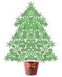 De vlokKerstboom van de sneeuw Stock Fotografie