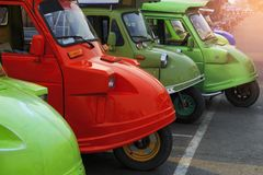 De vloot van Tuktuk Het de traditionele taxi van ` s en één van beroemd iconisch o royalty-vrije stock afbeelding