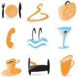 De vlotte pictogrammen van de hoteldienst Stock Foto