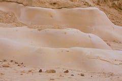 De vlotte vormen van de steen en van het zand, woestijn Negev Stock Foto's
