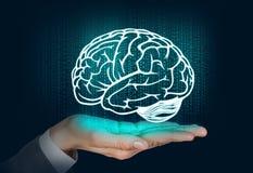 De vlotter van het hersenensilhouet op de hand Royalty-vrije Stock Foto