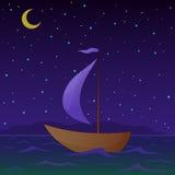 De vlotters van het schip bij nacht Stock Foto's
