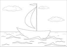 De vlotters van het schip in het overzees, contouren Royalty-vrije Stock Fotografie
