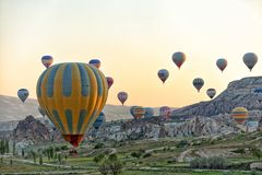 De vlucht Cappadocia van de hete Luchtballon royalty-vrije stock foto