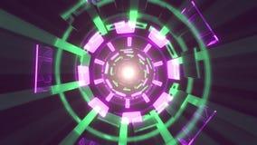 De vlucht in uit door blokneonlichten vat cyber van de de achtergrond grafiekanimatie van de tunnelmotie lijn nieuwe kwaliteit sa stock illustratie