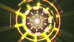 De vlucht in uit door blokneonlichten vat cyber van de de achtergrond grafiekanimatie van de tunnelmotie lijn nieuwe kwaliteit sa royalty-vrije illustratie