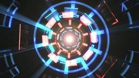 De vlucht in uit door blokneonlichten vat cyber van de de achtergrond grafiekanimatie van de tunnelmotie lijn nieuwe kwaliteit sa vector illustratie