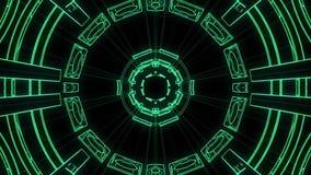 De vlucht in uit door de vertoningsneonlichten van blokhud vat cyber van de de grafiekanimatie van de tunnelmotie nieuwe lijn als stock illustratie