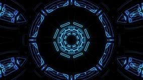 De vlucht in uit door de vertoningsneonlichten van blokhud vat cyber van de de grafiekanimatie van de tunnelmotie nieuwe lijn als royalty-vrije illustratie