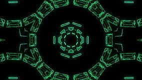De vlucht in uit door de vertoningsneonlichten van blokhud vat cyber van de de grafiekanimatie van de tunnelmotie nieuwe lijn als vector illustratie