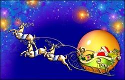 De vlucht van de kerstman Stock Afbeelding