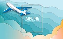De vlucht van een passagierslijnvliegtuig Vliegtuigen Blauwe golvende hemel en kleurrijke wolken Het effect van gesneden document vector illustratie