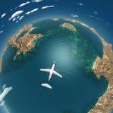 De vlucht van het vliegtuig boven overzeese eilanden Royalty-vrije Stock Afbeelding