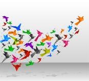 De vlucht van origamivogels Stock Foto's