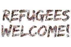 De vluchtelingen heten groep jonge multi etnische mensen welkom Royalty-vrije Stock Afbeelding