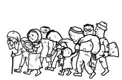 De vluchtelingen migreren Dakloze Mensen Royalty-vrije Stock Foto